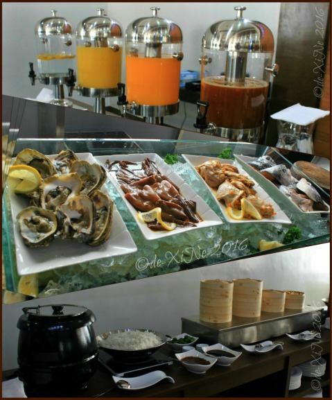 2016-01-28 Baguio Heritage Buffet Restaurant at Heritage Mansion juices, oysters, squid, chicken inasal, tuna heads, siomai, rice and the pinapaitan pot