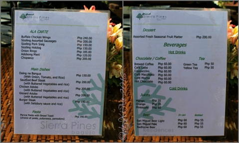 Baguio Grand Sierra Pines Hotel al fresco restaurant menu
