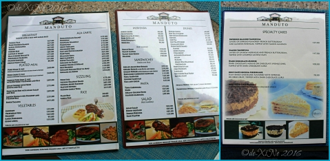 Baguio Manduto Restaurant at Pinewoods Golf and Country Club menu