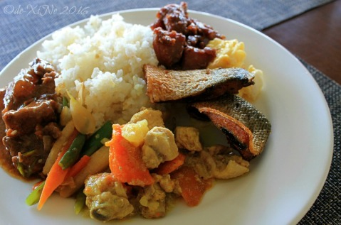 a plate with all the viands at Baguio Voyager Restaurant at El Cielito Inn (10)a
