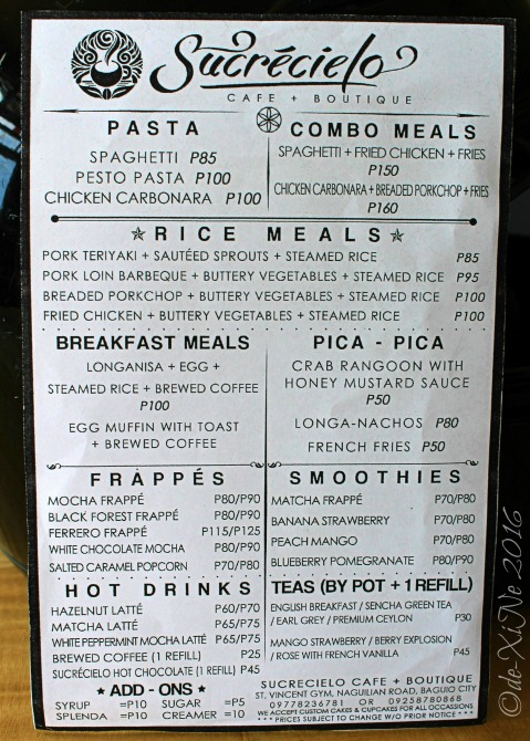 2016-03-07 Baguio Sucrecielo Cafe and Boutique menu