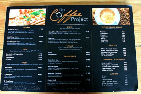 2016-03-14 Baguio Coffee Project menu
