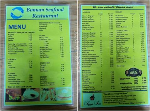 2016-03-14 Baguio Bonuan Seafood Restaurant at Iggy's Inn menu
