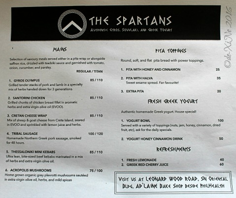 2016-04-01 Baguio The Spartans Greek food menu