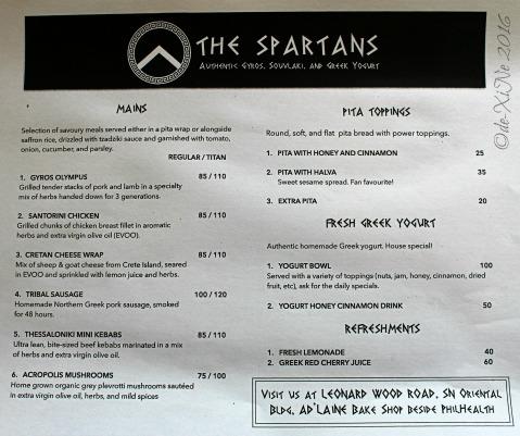2016-04-01 Baguio The Spartans Greek food menu
