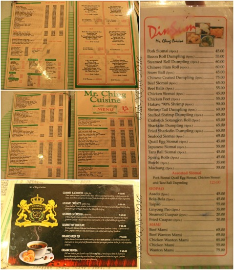 2016-04-04 Baguio Mr. Ching Cuisine menu