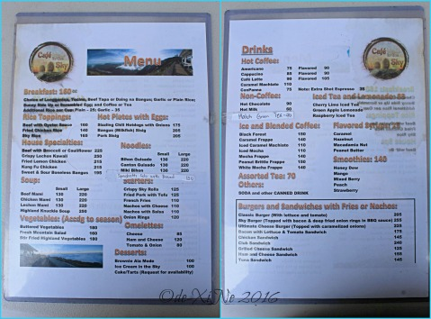 2016-04-04 metro Baguio Cafe in the Sky menu