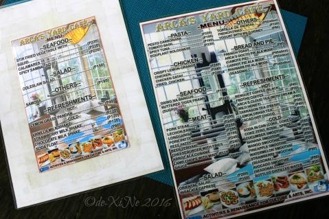 2016-04-13 metro Baguio Arcas Yard Mini Library Museum and Cafe menu