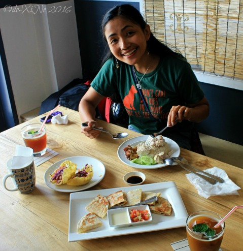 2016-02-17 Baguio Masa Mexitalian enjoying chicken rice tacos and quesadillas