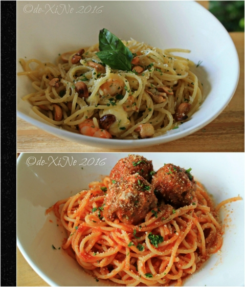 2016-03-11 Baguio Masa Mexitalian prawn feta pasta and meatball pasta