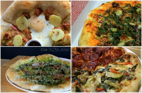 2016-03-11 Baguio Masa Mexitalian proteinata pizza, manzo pizza, pistachio pizza and half half of spicy salame and artichoke pizza