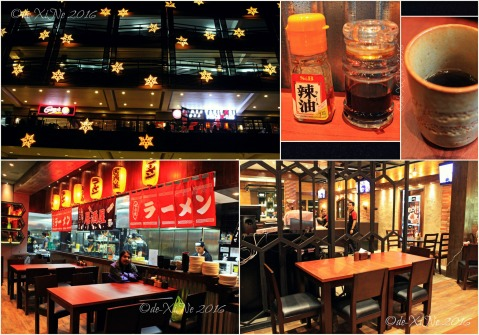 2016-05-19 Baguio Ramen Sora dining area, condiments and tea
