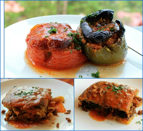 2016-06-06-07 Baguio Lemon and Olives Greek Taverna main course stuffed tomato and pepper, moussaka and pastitio