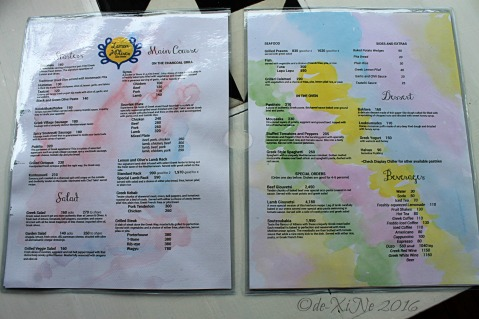 2016-06-06 Baguio Lemon and Olives Greek Taverna menu