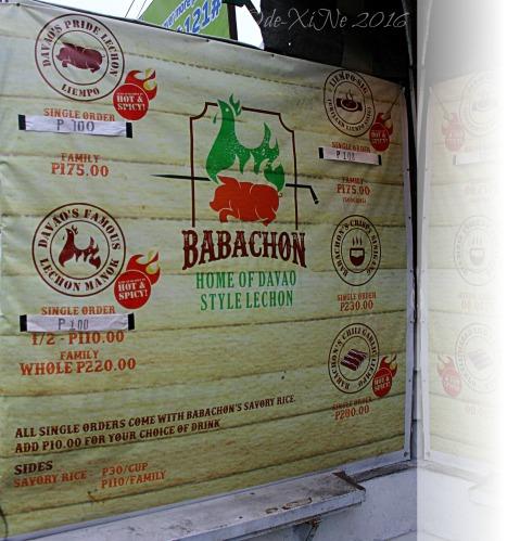 2016-07-06 Baguio Babachon Davao Style Lechon menu