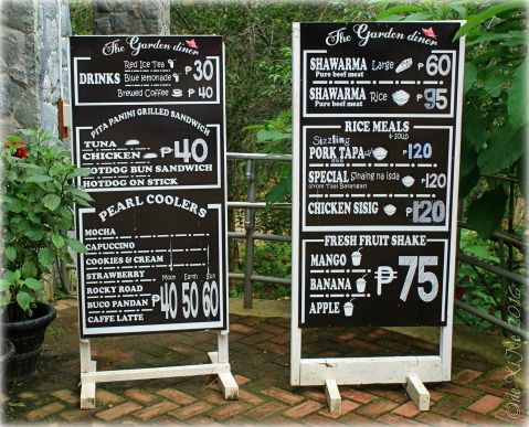 2016-07-08 Baguio Garden Diner at Botanical Garden menu