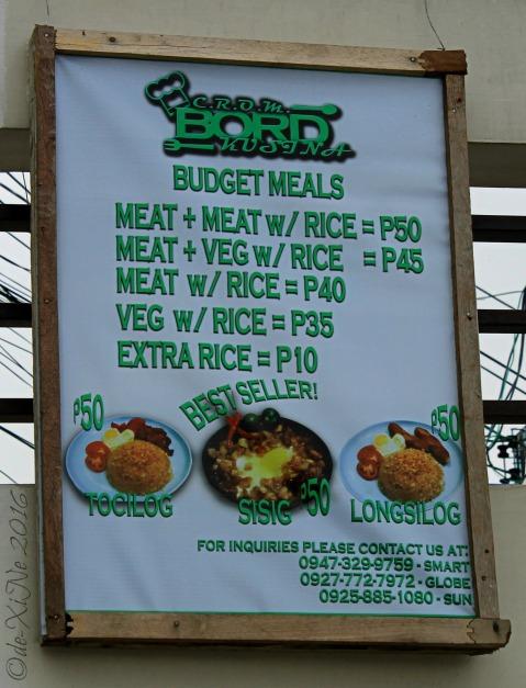 2016-07-15 Baguio C.R.O.M. Bord Kusina menu