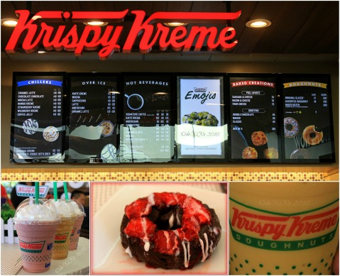 2016-07-22 Baguio second Krispy Kreme branch menu drinks - wildberry kreme mocha latte mango kreme and Baguio exclusive double chocolate strawberry cake doughnut