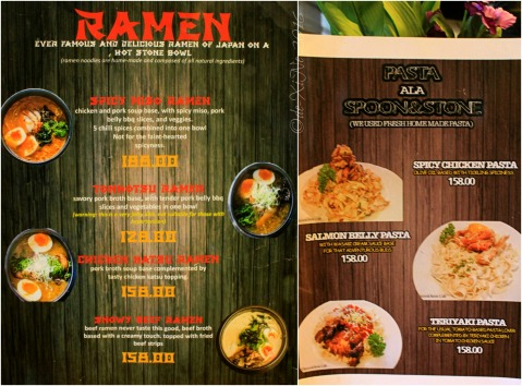 2016-08-10 Baguio Spoon and Stone Cafe and Restaurant ramen and pasta menus
