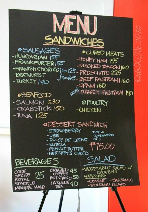 2016-07-24 Baguio 27 Sandwich menu