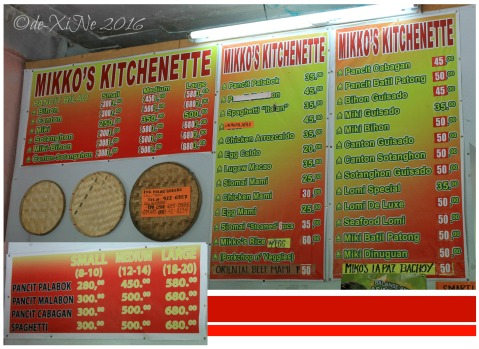 2016-08-01 Baguio Mikkos Kitchenette menu