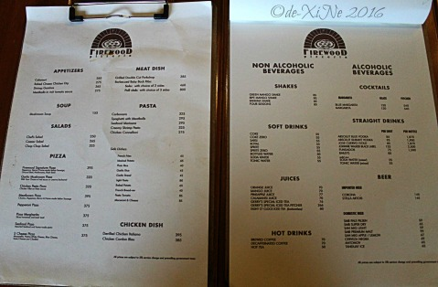 2016-09-05 Baguio Firewood Pizzeria menu ^^,