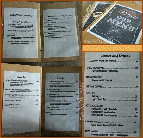 Baguio I Piatti Cafe menu