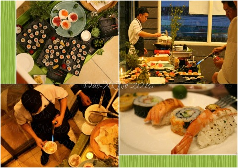 Baguio Shoriken Buffet and Ramen Mines View Restaurant searing sushi with a blowtorch