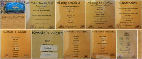Baguio Kwento Cafe menu