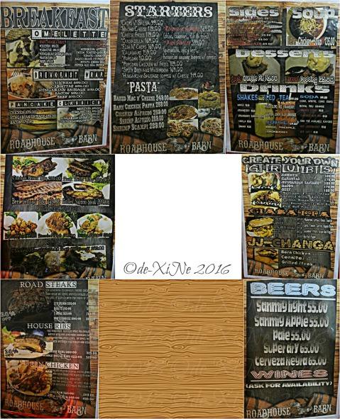 Baguio Roadhouse Barn menu