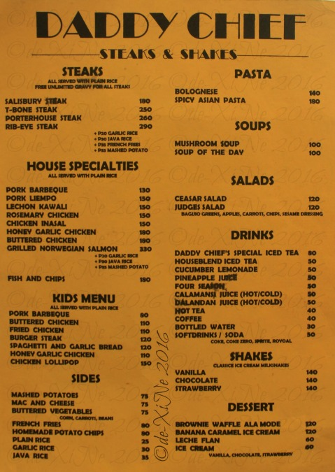 Baguio Daddy Chief menu