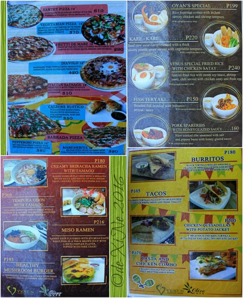 Baguio Olive Cafe at Venus Parkview Hotel appended menu