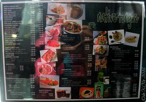 La Trinidad metro Baguio Native Tongue menu