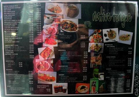 La Trinidad metro Baguio Native Tongue menu