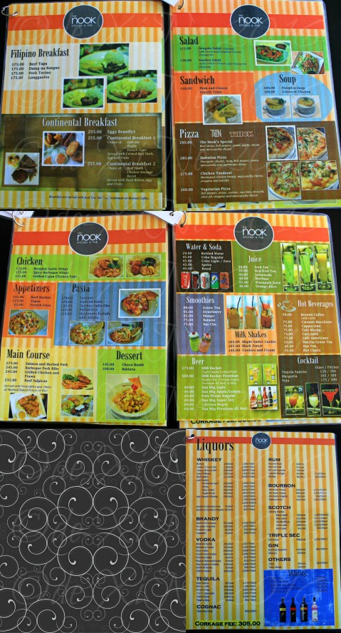 Baguio The Nook Kitchen & Pub menu at LeFern Hotel II