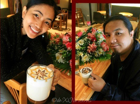 2016-12-09-baguio-il-padrino-cafferistorante with our hot drinks: caramel hot choco and cafe mocha