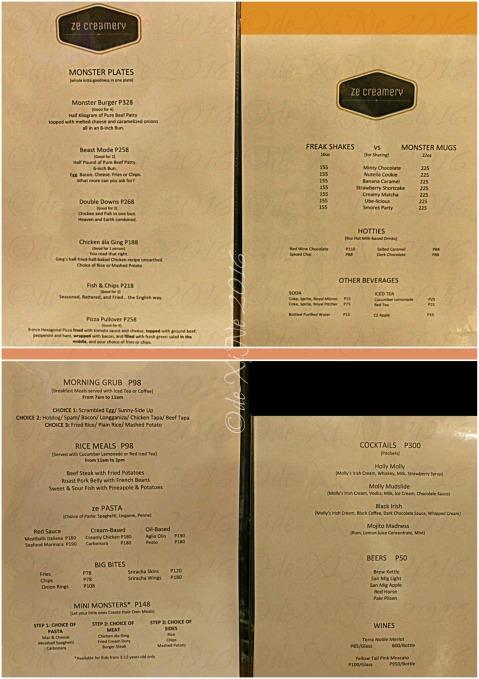 Baguio Ze Creamery menu 2016