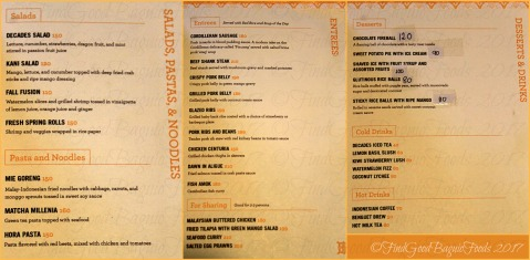 Baguio Decades Fusion Restaurant and After Hours Joint menu