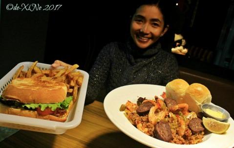 Baguio Ozark Diner St. Augustine shrimp pilau and tocino lettuce tomato sandwich
