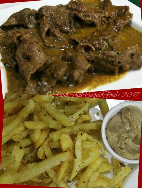 Baguio Chef Didier's Table Steak au poivre with Belgian fries aioli sauce