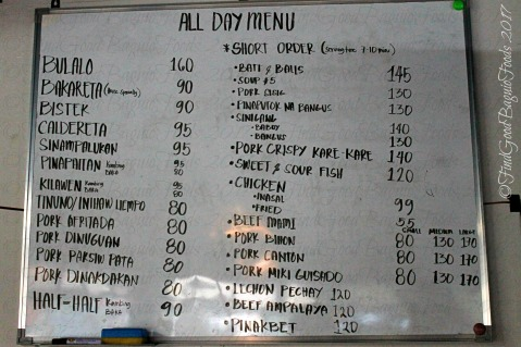 Baguio Mang Ed Bakareta Cafe and Restaurant menu