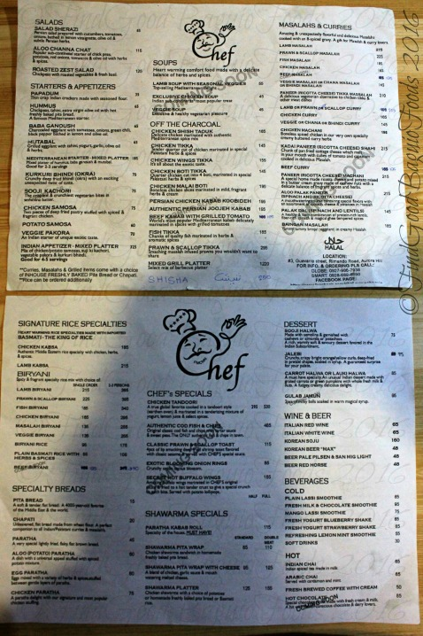 Baguio Chef Restaurant (Middle Eastern Cuisine) updated menu