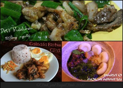 Baguio Pet's Bulaluhan sizzling nguso, Calsada Bistro chicken pork adobo, Naruto Japanese Restaurant mochi anmitsu