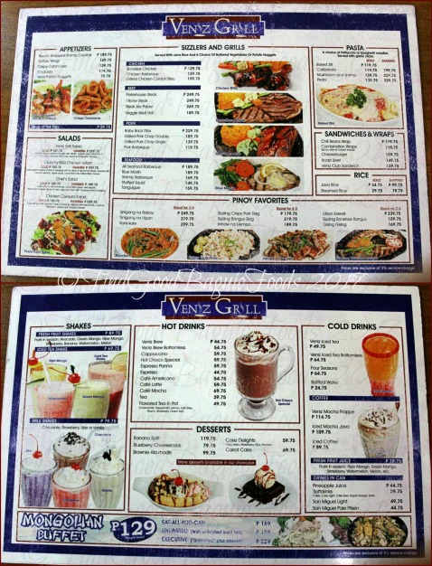 Baguio Veniz Grill updated menu