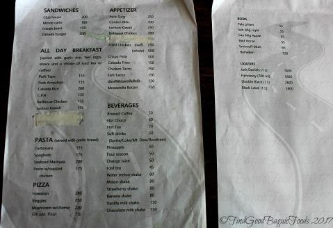 Baguio Calsada Bistro menu
