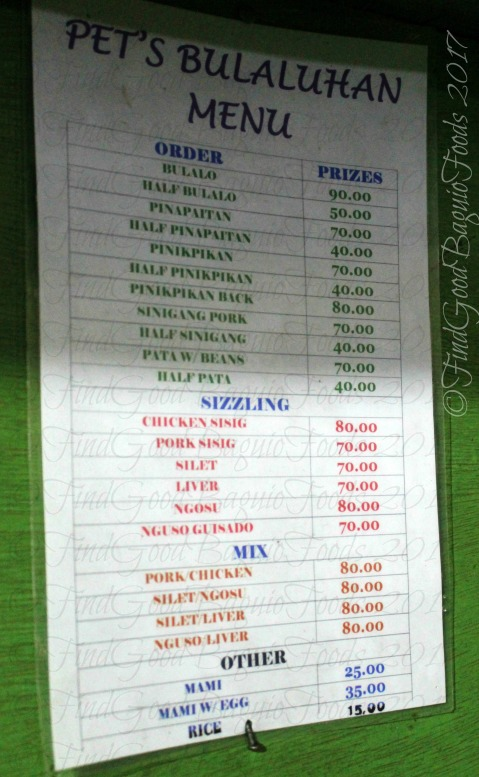 Baguio Pet's Bulaluhan menu