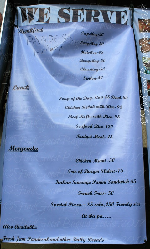 Baguio Chef Didier's Cafe menu