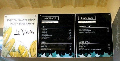 Baguio Le Vain Bakery drinks menu