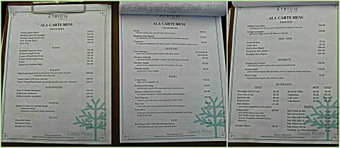 Baguio The Atrium Restaurant at Grand Sierra Pines Hotel 2017 menu