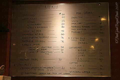 Baguio Subo menu
